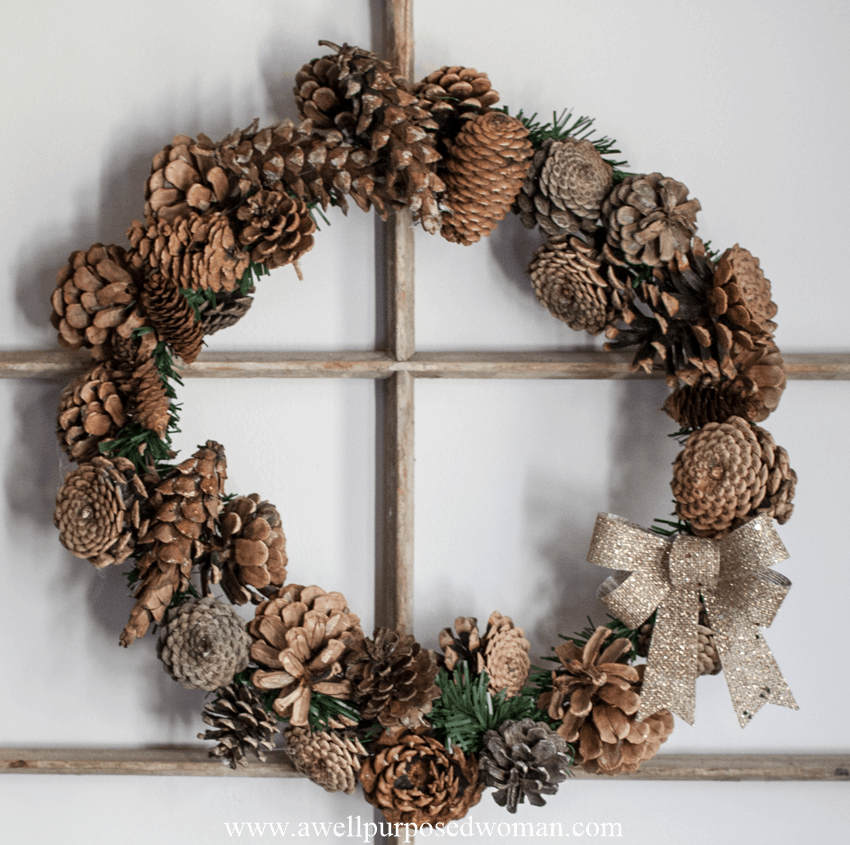 How To Make An Easy 30 Minute Pine Cone Wreath A Well Purposed Woman